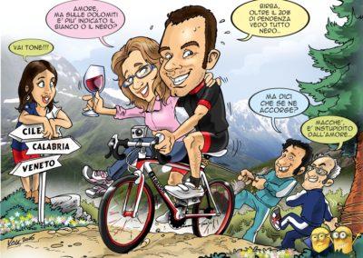 caricatura ciclista amici compleanno amore