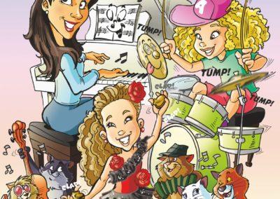 caricatura compleanno famiglia pianista valentino villanova