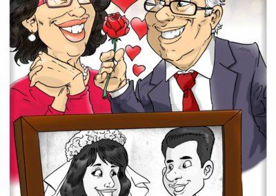 caricatura coppia anniversario amore