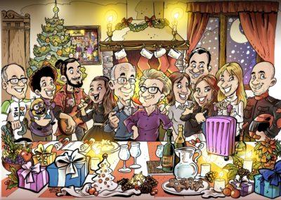 caricatura famiglia natale