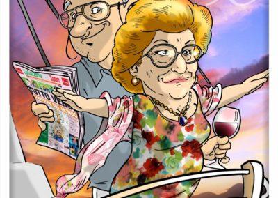 caricatura genitori anniversario romantica