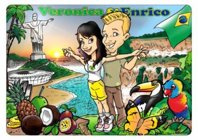 caricatura matrimonio sposi brasile
