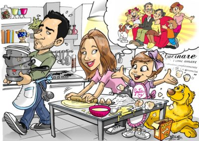 caricatura simpatica famiglia cartoon bambino