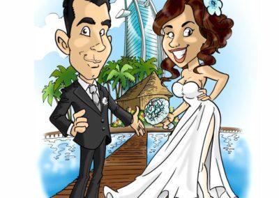 caricatura-sposi-aereo-viaggio-dubai-caraibi-matrimonio-personalizzata_valentino-villanova