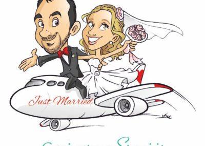 caricatura-sposi-aereo-viaggio-matrimonio-personalizzata_valentino-villanova
