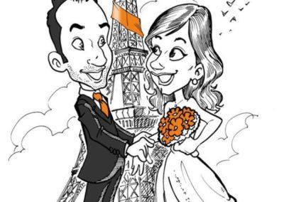caricatura-sposi-aereo-viaggio-parigi-matrimonio-personalizzata_valentino-villanova