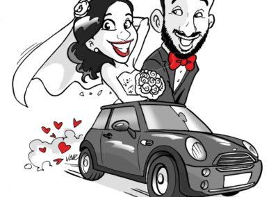 caricatura-sposi-auto-mini-cooper-matrimonio-personalizzata_valentino-villanova