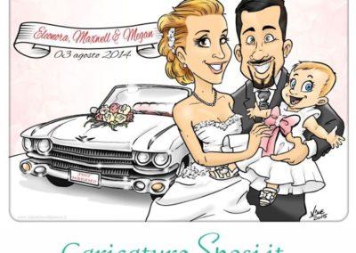 caricatura-sposi-auto-viaggio-cadillac-romantico-bambina-matrimonio-personalizzata_valentino-villanova