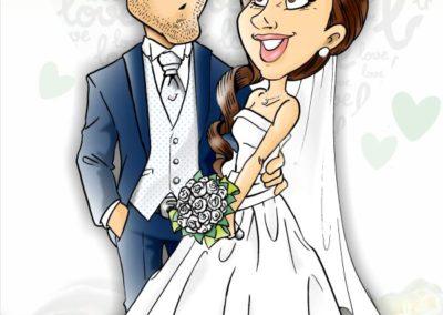 caricatura-sposi-elegante-rose-romantico-bacio-matrimonio-personalizzata_valentino-villanova