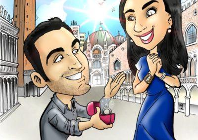 caricatura-sposi-venezia-venice-elegante-romantico-bacio-matrimonio-personalizzata_valentino-villanova