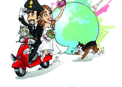 caricatura-sposi-vespa-gatto-carabiniere-viaggio-matrimonio-personalizzata_valentino-villanova