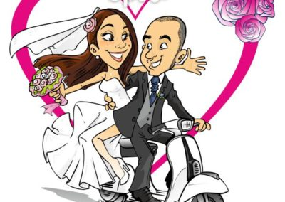 caricatura-sposi-vespa-romantico-matrimonio-personalizzata_valentino-villanova